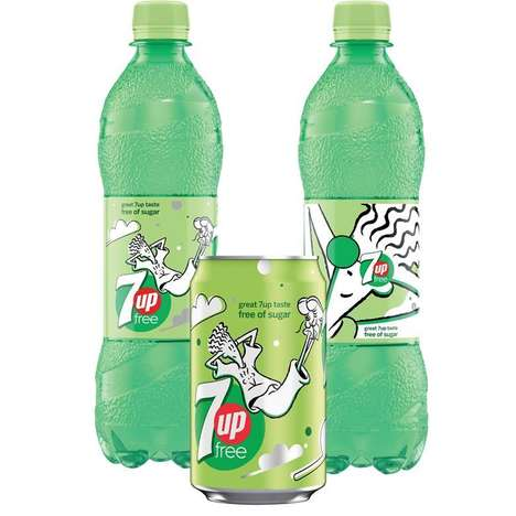 90s Cartoon Soda Branding : 7UP Free Packaging
