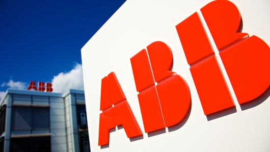 Logos of ABB AG sit on display outside the company