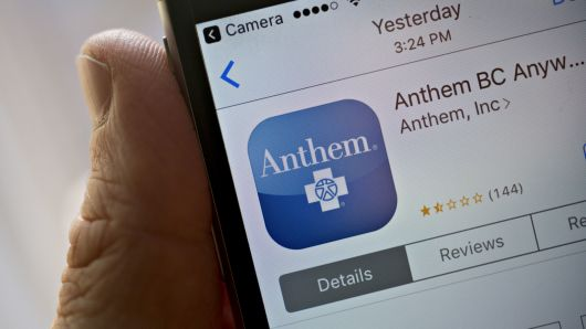 The Anthem Inc. Anthem Anywhere application is seen in the App Store on an Apple Inc. iPhone displayed for a photograph in Washington, D.C., U.S., on Saturday, April 21, 2018.
