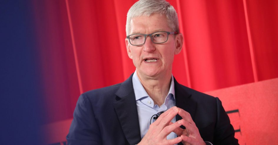 Tim Cook participates in a panel discussion during the TIME 100 Summit 2019 on April 23, 2019 in New York City.