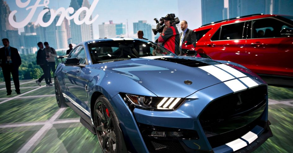 The Ford Motor Co. Mustang Shelby GT500 vehicle is displayed during the 2019 North American International Auto Show (NAIAS) in Detroit, Michigan,.