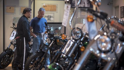 Customers view Harley-Davidson Inc. motorcycles at the company