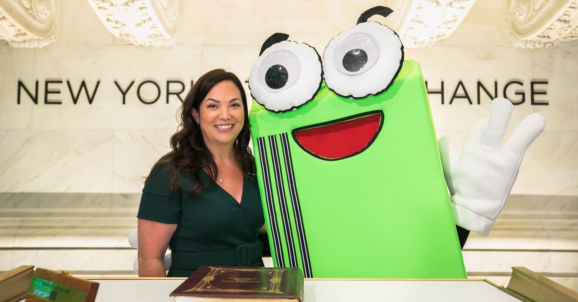 PagerDuty CEO Jennifer Tejada with Pagey at the NYSE