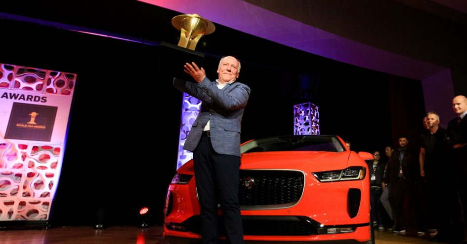 Ian Callum and the Jaguar I-Pace accept the award for the 2019 World Car Award at the New York Auto Show in New York on April 17th, 2019.