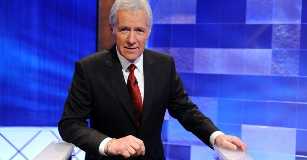 Game show host Alex Trebek poses on the set of the 'Jeopardy!' Million Dollar Celebrity Invitational Tournament Show Taping on April 17, 2010 in Culver City, California.