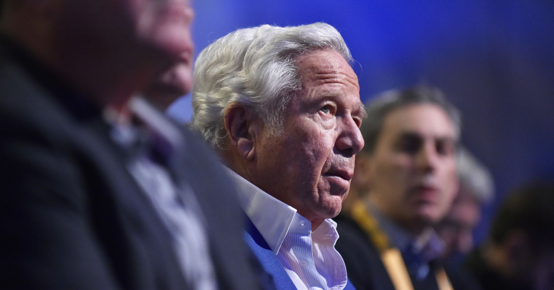 New England Patriots owner Robert Kraft listens to NFL Commissioner Roger Goodell speak to the media over various topics in the league leading up to Super Bowl LIII at the Georgia World Congress Center on January 30, 2019, in Atlanta, GA.