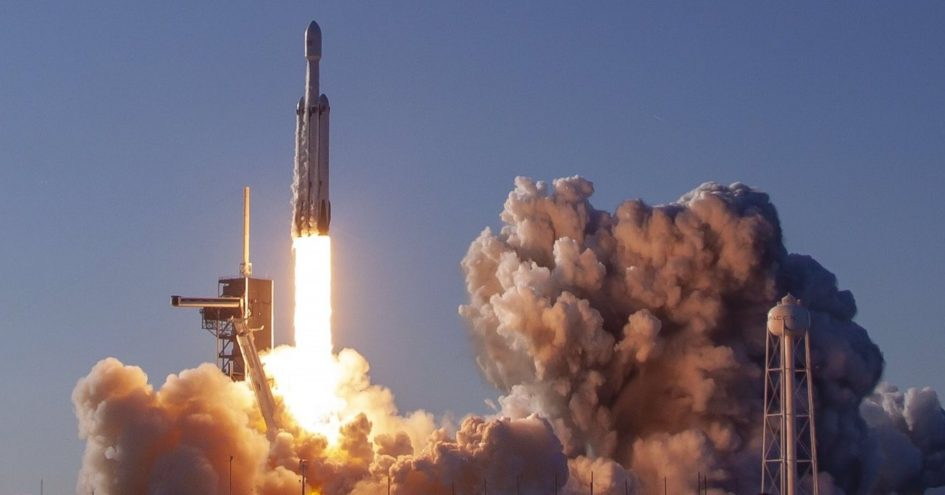 SpaceX launches the Falcon Heavy rocket on its first commercial mission.