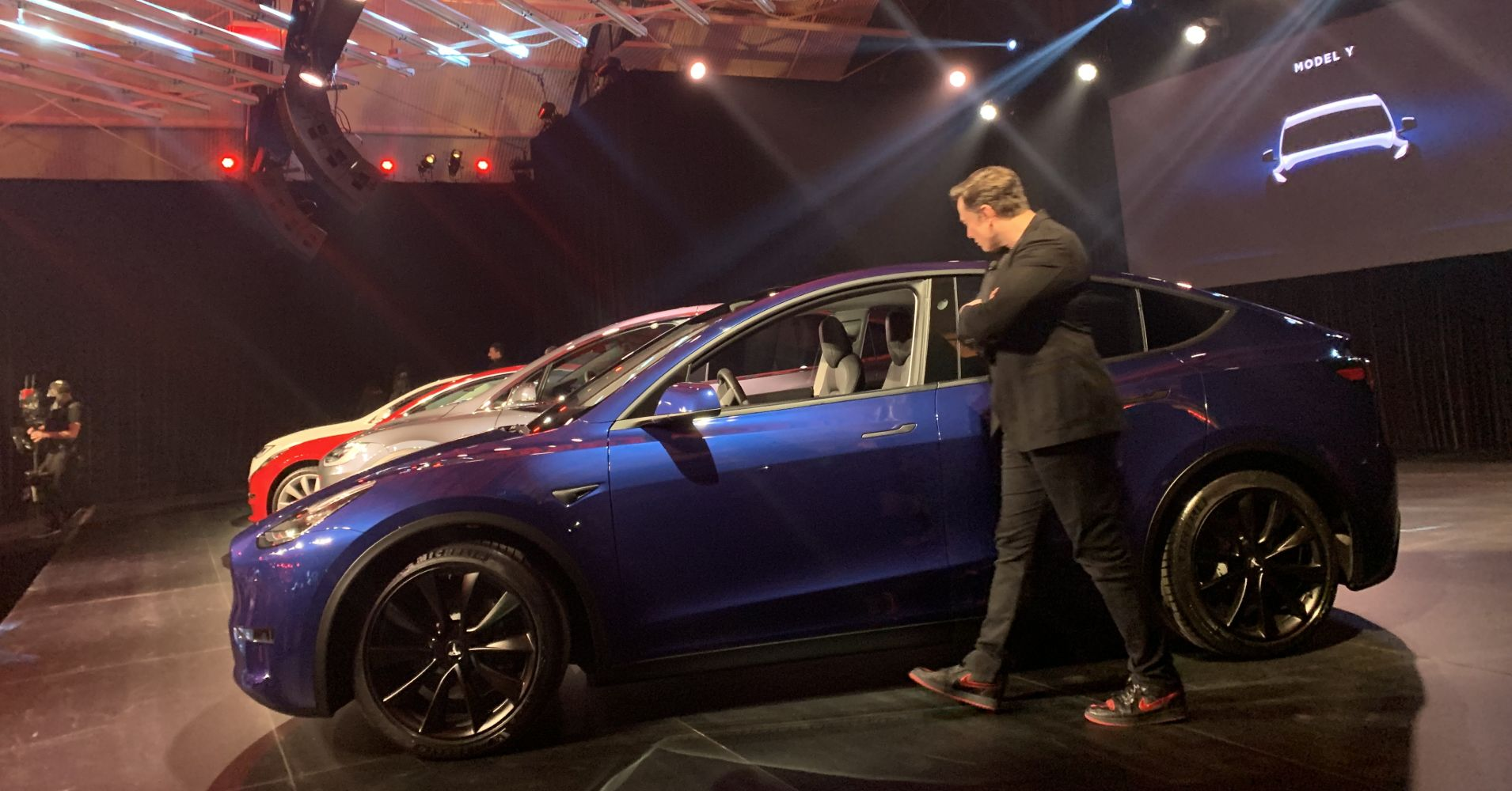 Tesla CEO Elon Musk at an unveiling event for its new Model Y cars.