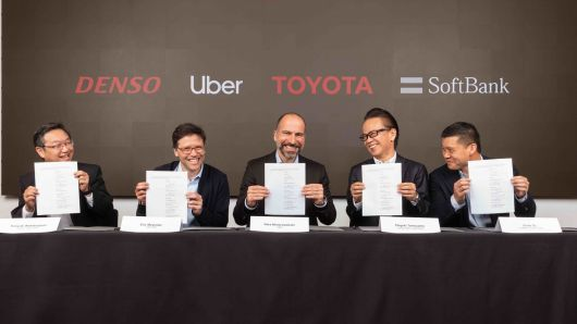From left to right, Hiroyuki Wakabayashi (Denso), Eric Meyhofer (Uber ATG leader), Dara Khosrowshahi (Uber CEO), Shigeki Tomoyama (Toyota), and Ervin Tu (SoftBank Vision Fund)