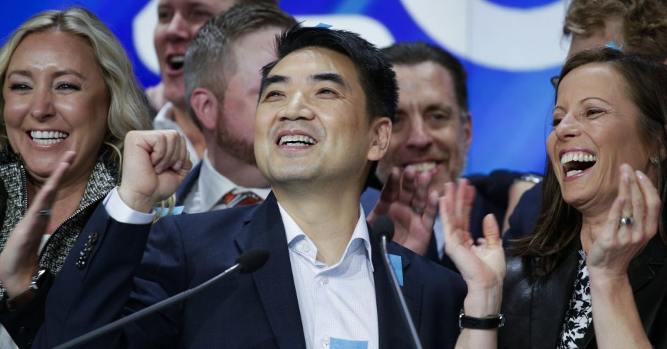 Zoom founder Eric Yuan reacts at the Nasdaq opening bell ceremony on April 18, 2019 in New York City.