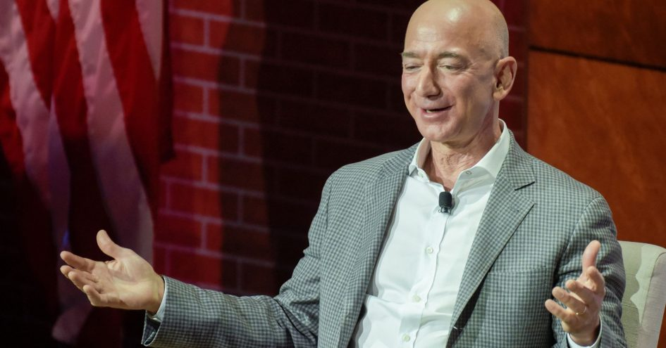 Jeff Bezos, CEO of Amazon, speaks at the George W. Bush Presidential Center's Forum on Leadership in Dallas, Texas, April 20, 2018.