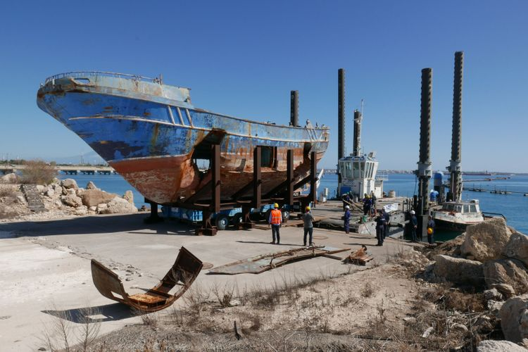 Deadly boat that sunk with hundreds of migrants on board becomes work of art at Venice Biennale