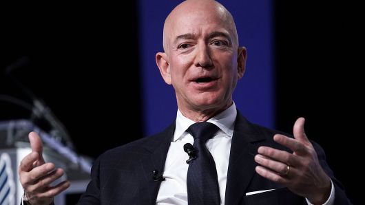 Amazon CEO Jeff Bezos, founder of space venture Blue Origin and owner of The Washington Post, participates in an event hosted by the Air Force Association September 19, 2018 in National Harbor, Maryland.
