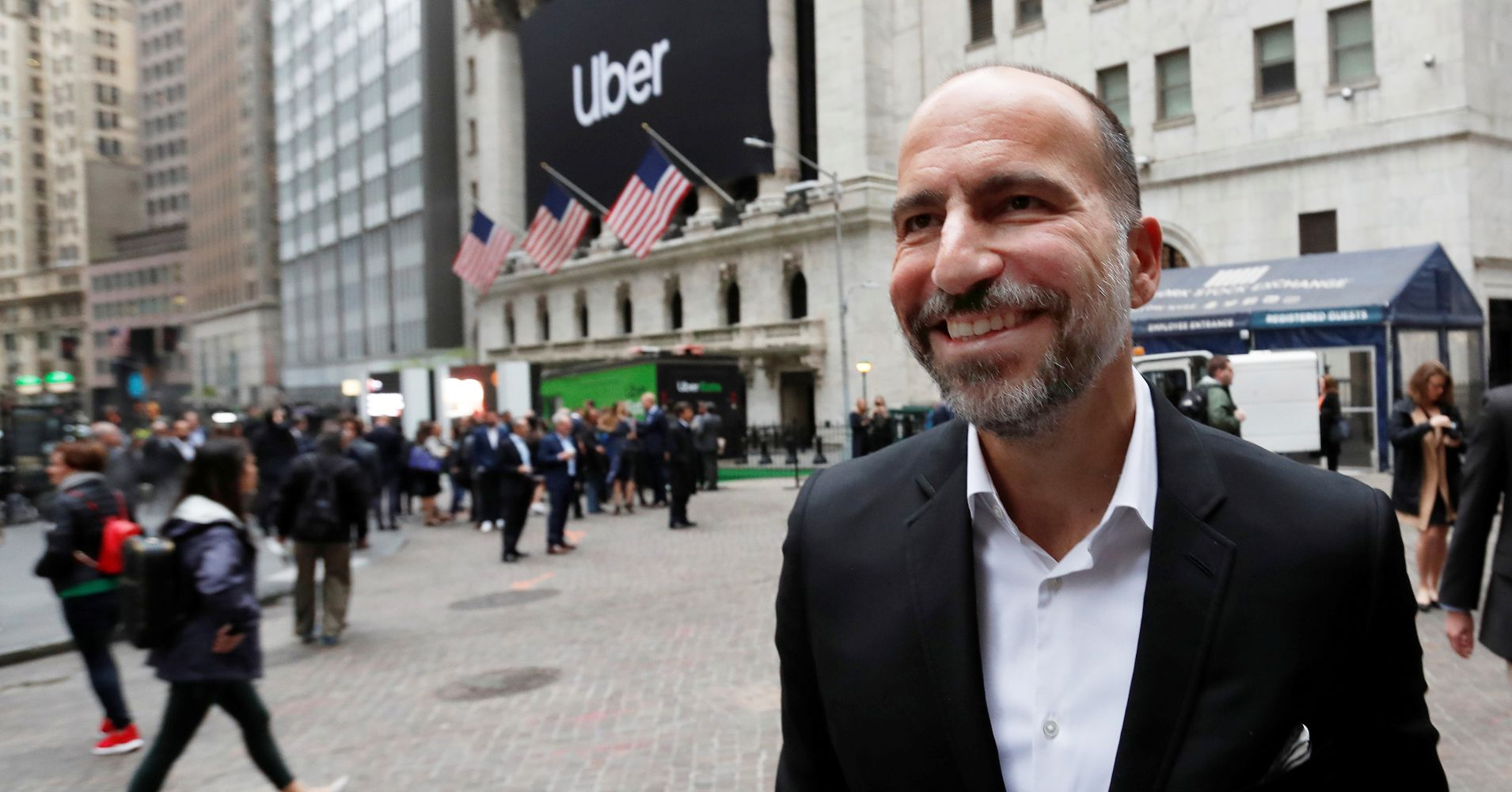 Uber Technologies CEO Dara Khosrowshahi stands outside the New York Stock Exchange ahead of the company's IPO May 10, 2019.