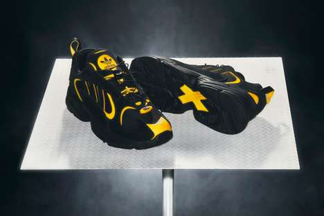 Yellow-Accented Chunky Sneakers : adidas Yung-1 style