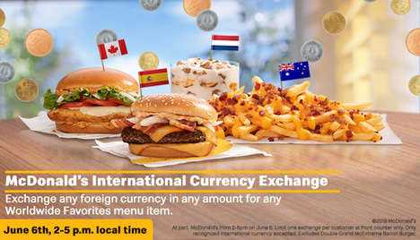 Foreign Currency-Centric Marketing Stunts : worldwide favorites menu