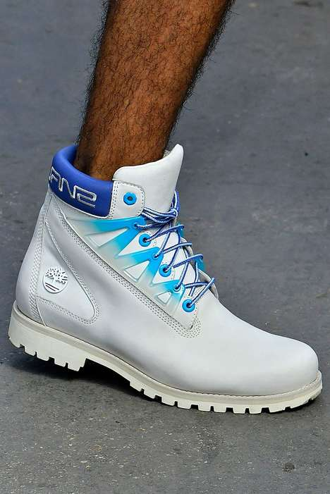 Iconic Blue-Accented Boot Designs : White Timberlands