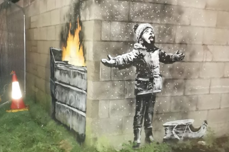 Port Talbot Banksy piece moves from garage site to town centre