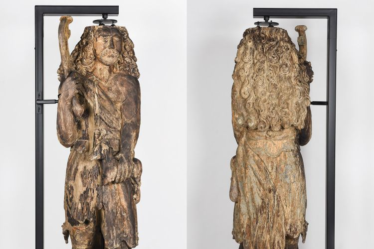 Rotting 17th century wooden sculpture renovated by Norfolk Museums