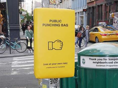 Stress-Relieving Public Punching Bags : public punching bag
