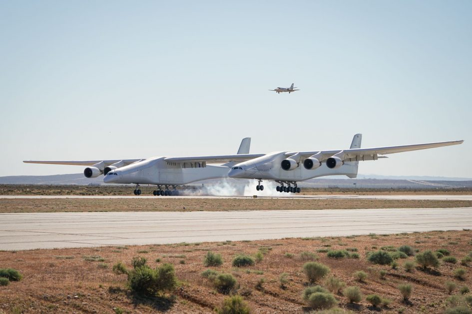 Stratolaunch, the world's largest airplane, lands at the Mojave Air and Space Port in California after its first successful flight on April 13, 2019.