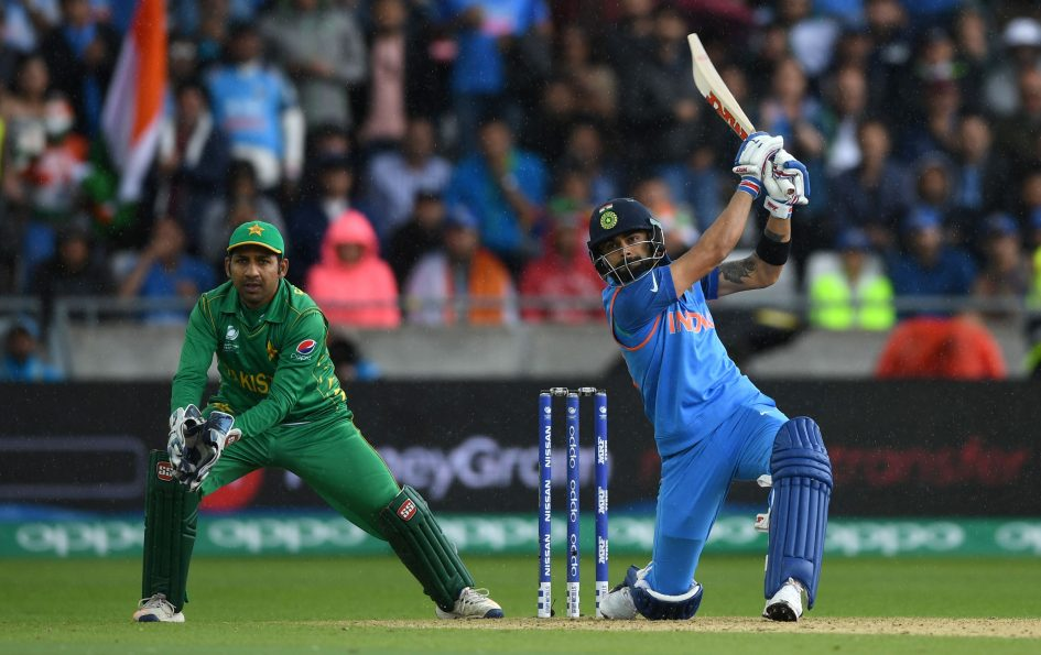 Virat Kohli of India bats during the ICC Champions Trophy match between India and Pakistan at Edgbaston on June 4, 2017 in Birmingham, England.