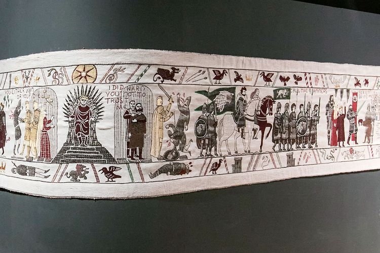 On a medieval-style tapestry, the last season of Game of Thrones unfurls