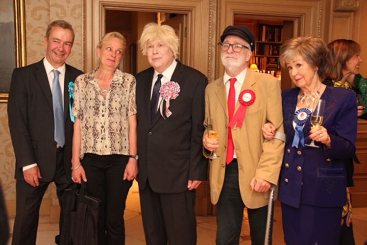 The Brexit Bunch: fake Farage and counterfeit Corbyn attend the Malekis' pro-EU party