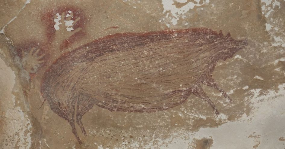 This warty pig is the world's oldest animal painting
