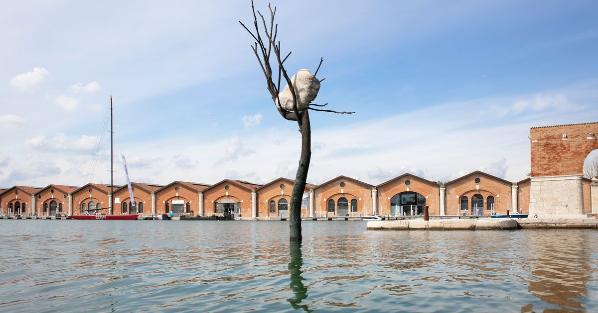 Giuseppe Penone's monumental tree rises from Venetian lagoon as Architecture Biennale opens