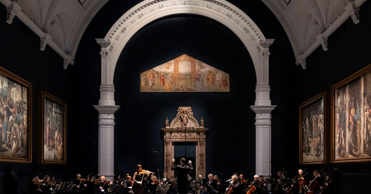 Raphael Cartoons at Victoria and Albert Museum serenaded by live orchestral performance